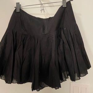 Hip hugger black flare skirt